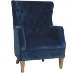 Lotus Velvet Armchair Navy