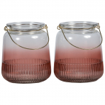 Lune Sunlight Candleholders Sml Set/2 Rose