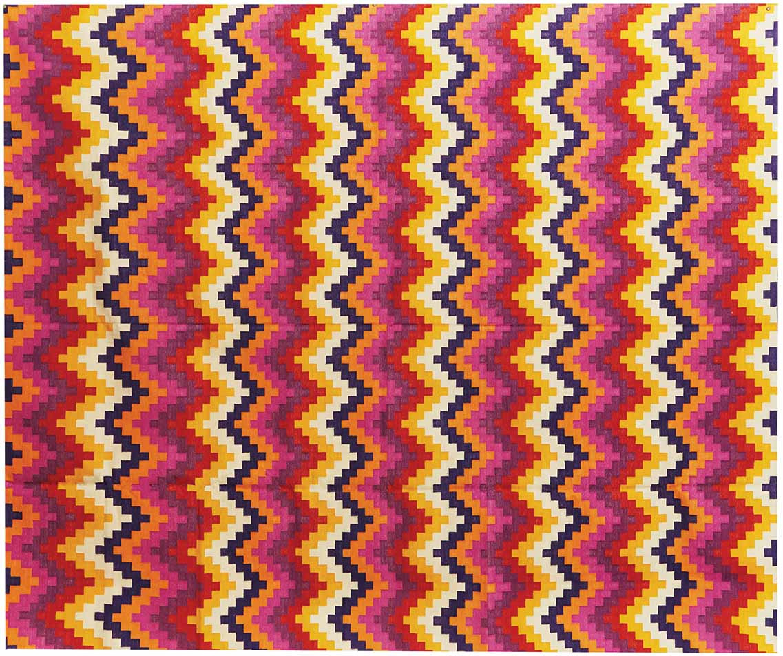 Cotton Dhurrie Pixel Chevron Multi